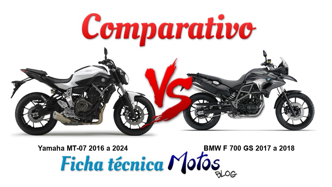 Comparativo entre Yamaha MT-07 2016 a 2020 e BMW F 700 GS